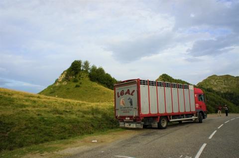 Lâcher de bouquetins au Col d'Agnes le 19 juillet 2017 avec le camion de transport des animaux et le site de lâcher