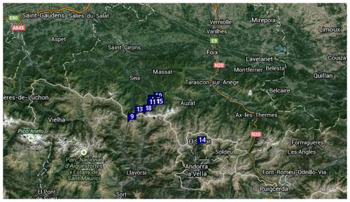 Carte de suivi des bouquetins équipés de collier GPS